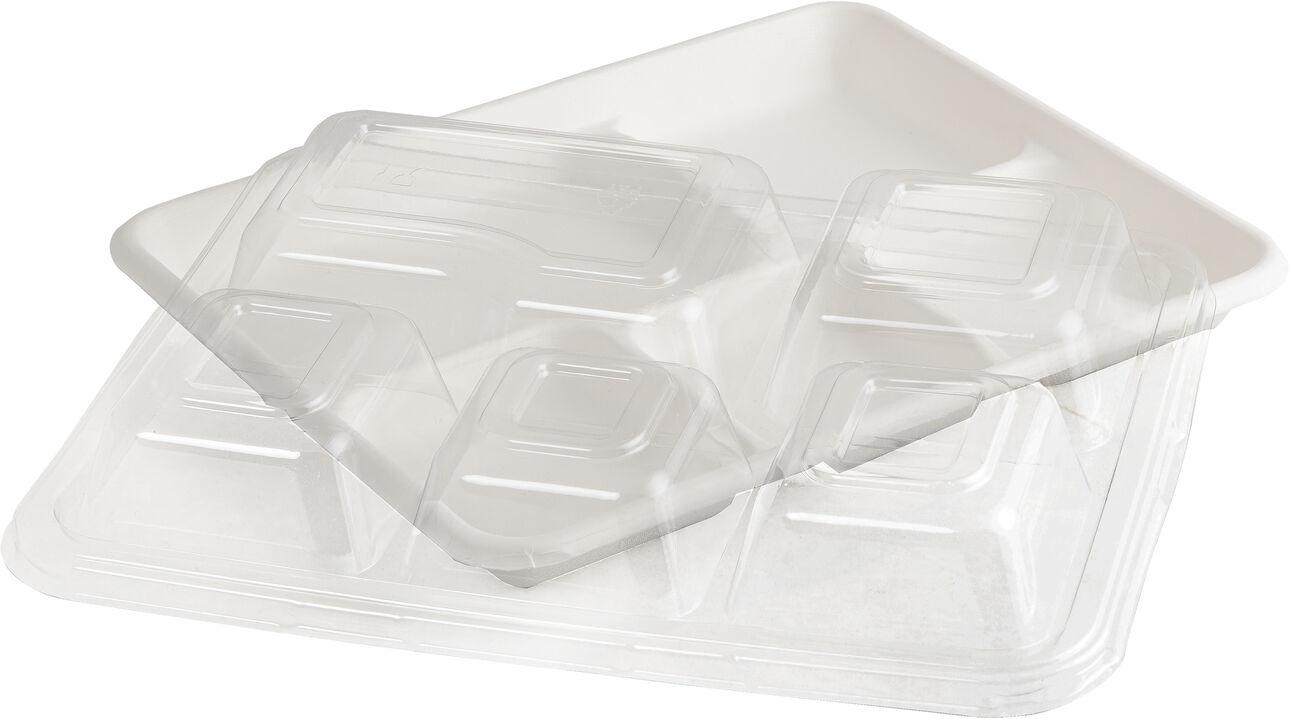 carton de 200 ( 4 paquets de 50) couvercles en pet pour plateau repas fibre 5 compartiments 265x215x10 mm