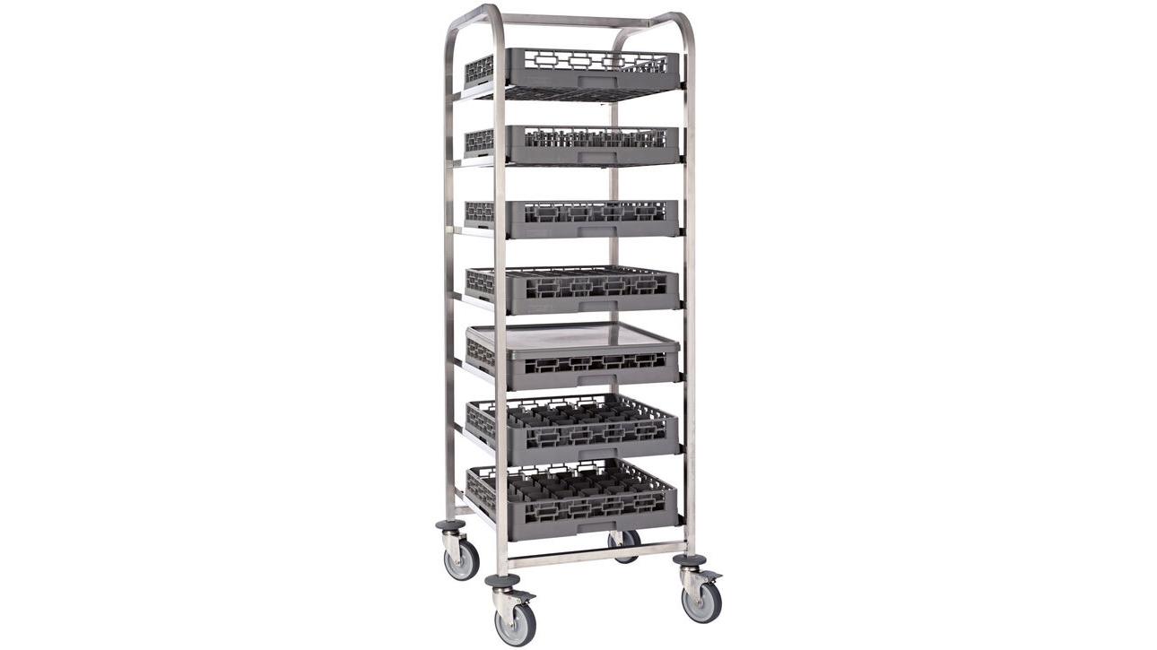chariot à glissières 7 niveaux pour casiers de lavage